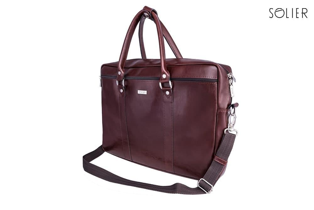 """Мужская кожаная сумка для ноутбука Solier 17"""" Каштановая (SL03Maroon)"""