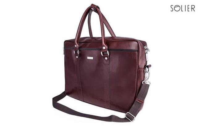 "Мужская кожаная сумка для ноутбука Solier 17"" Каштановая (SL03Maroon), фото 2"