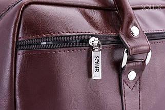 "Мужская кожаная сумка для ноутбука Solier 17"" Каштановая (SL03Maroon), фото 3"