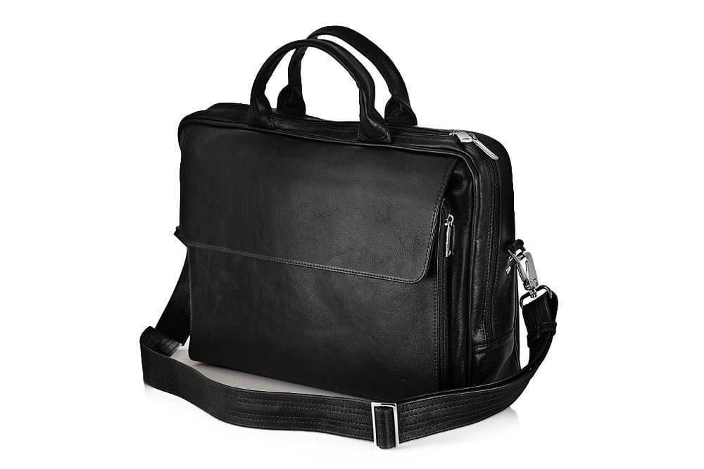 """Мужская кожаная сумка для ноутбука 15 - 15.6"""" и документов Черная Solier (SL30Black)"""
