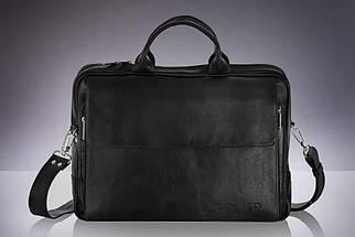 """Мужская кожаная сумка для ноутбука 15 - 15.6"""" и документов Черная Solier (SL30Black), фото 2"""