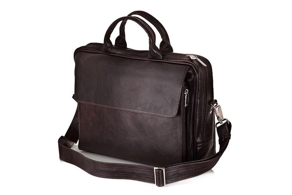 """Мужская кожаная сумка для ноутбука 15 - 15.6"""" и документов Коричневая Solier (SL30Brown)"""