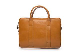 """Мужская кожаная сумка для ноутбука 15 - 15.4"""" Коричневая Solier (SL20Camel), фото 3"""