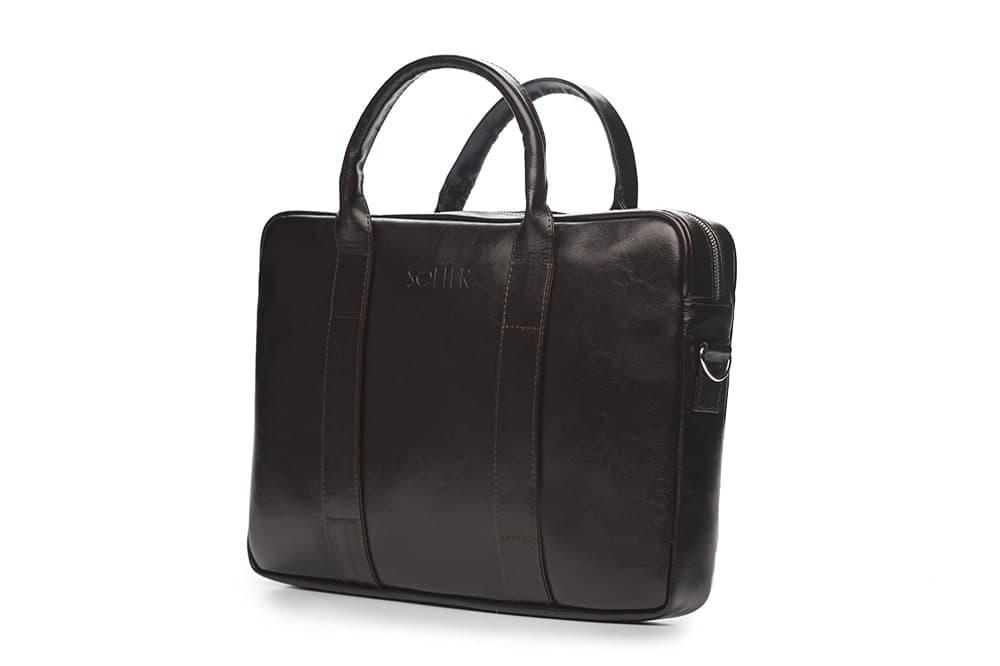 """Мужская кожаная сумка для ноутбука 15 - 15.4"""" Коричневая Solier (SL20Brown)"""