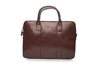"Мужская кожаная сумка для ноутбука 15 - 15.4"" Каштановая Solier (SL20Maroon), фото 2"