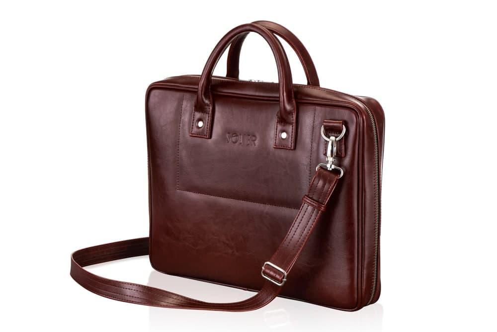 """Мужская кожаная сумка для ноутбука 15 - 15.6"""" Solier Каштановая (SL21Maroon)"""