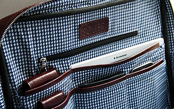 "Мужская кожаная сумка для ноутбука 15 - 15.6"" Solier Каштановая (SL21Maroon), фото 3"