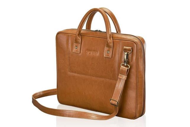 """Мужская кожаная сумка для ноутбука 15 - 15.6"""" Solier Коричневый (SL21Camel), фото 2"""