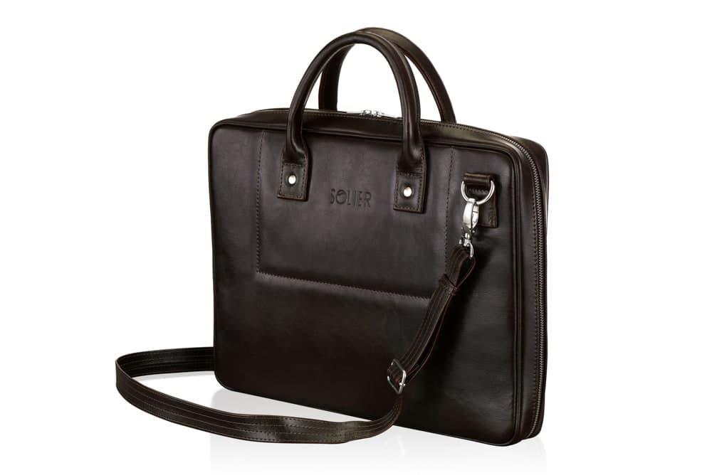 """Мужская кожаная сумка для ноутбука 15 - 15.6"""" Solier Коричневая (SL21Brown)"""