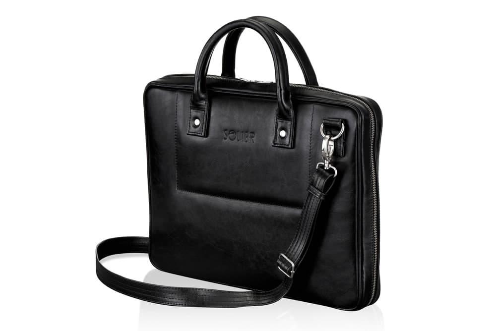 "Мужская кожаная сумка для ноутбука 15 - 15.6"" Solier Черная (SL21Black)"