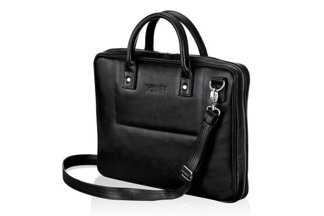 """Мужская кожаная сумка для ноутбука 15 - 15.6"""" Solier Черная (SL21Black), фото 2"""