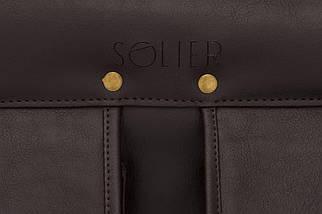 """Мужской портфель для ноутбука 15 - 15.6"""" Solier Темно-коричневый (S24DarkBrown), фото 3"""