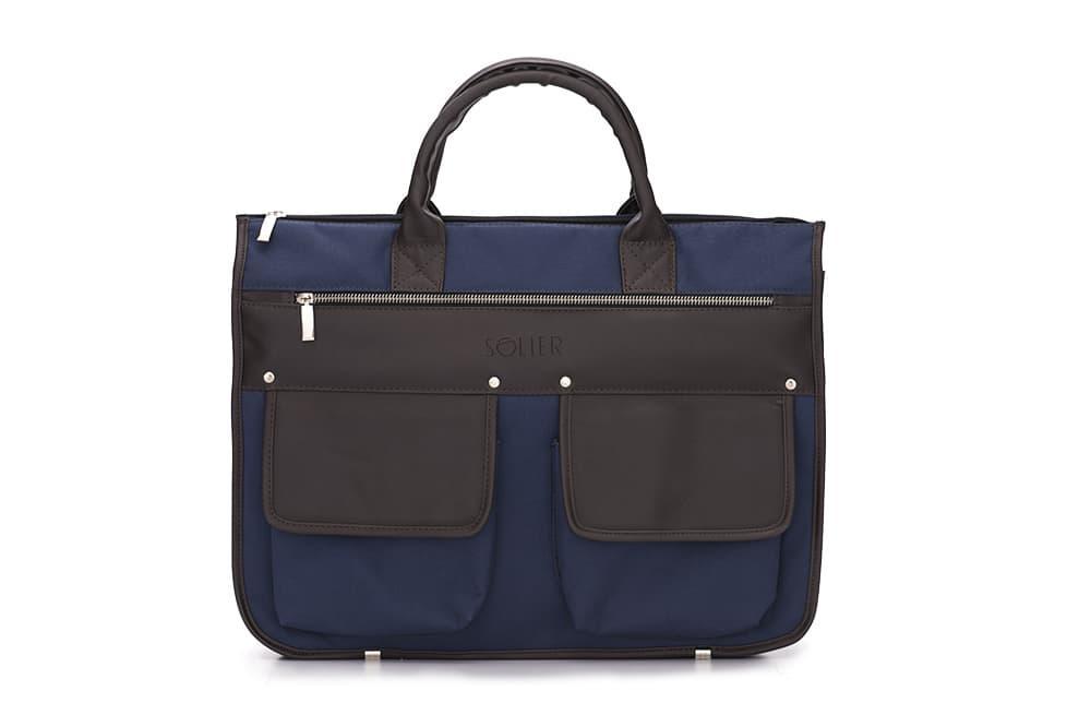 """Мужской портфель для ноутбука 15 - 15.6"""" Solier Сине-коричневый (S24BlueBrown)"""