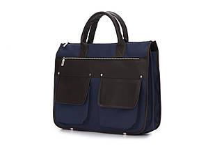 """Мужской портфель для ноутбука 15 - 15.6"""" Solier Сине-коричневый (S24BlueBrown), фото 3"""