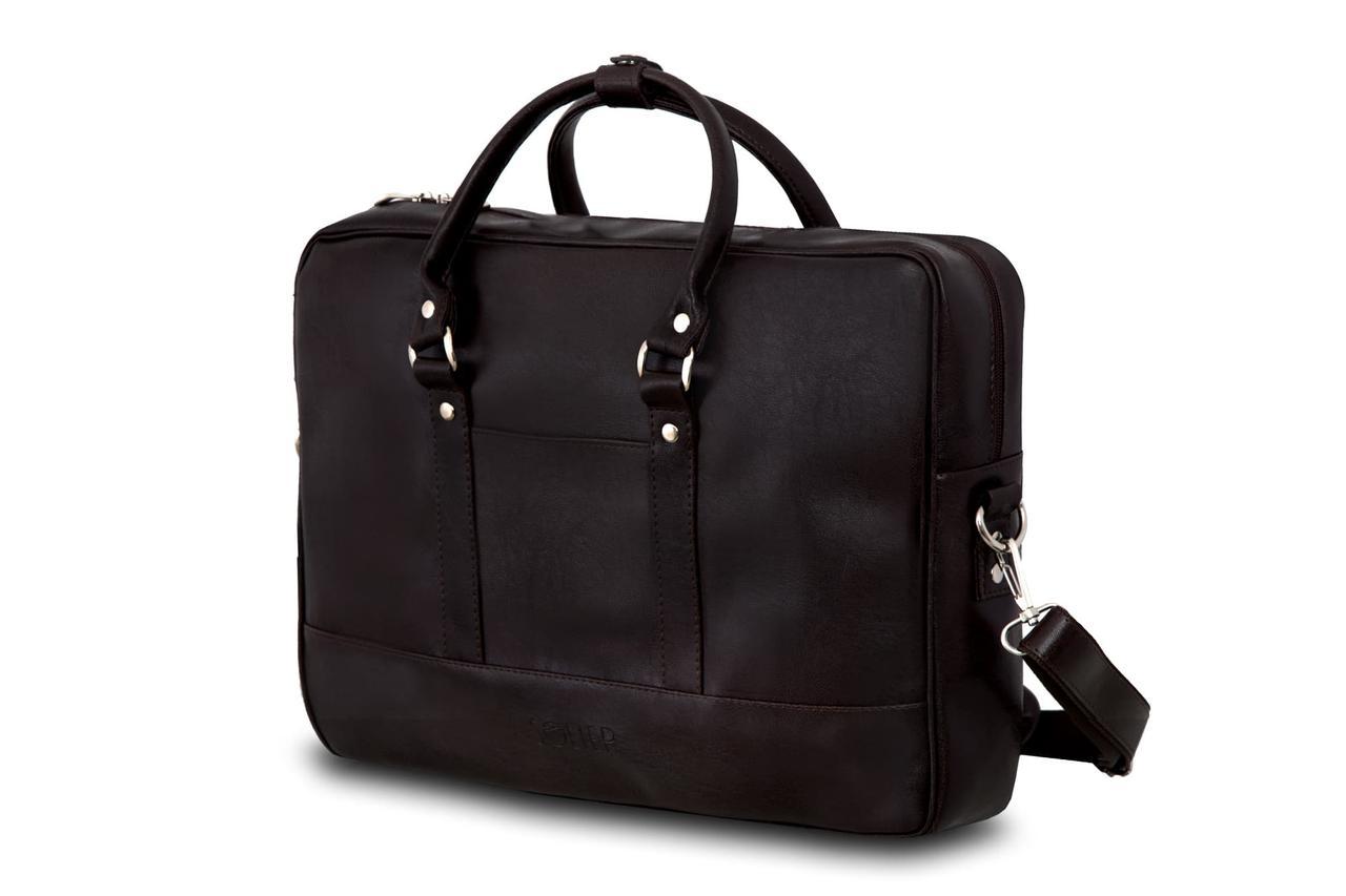 """Мужская кожаная сумка для ноутбука 15 - 15.6"""" Solier Коричневая (S04DarkBrown)"""