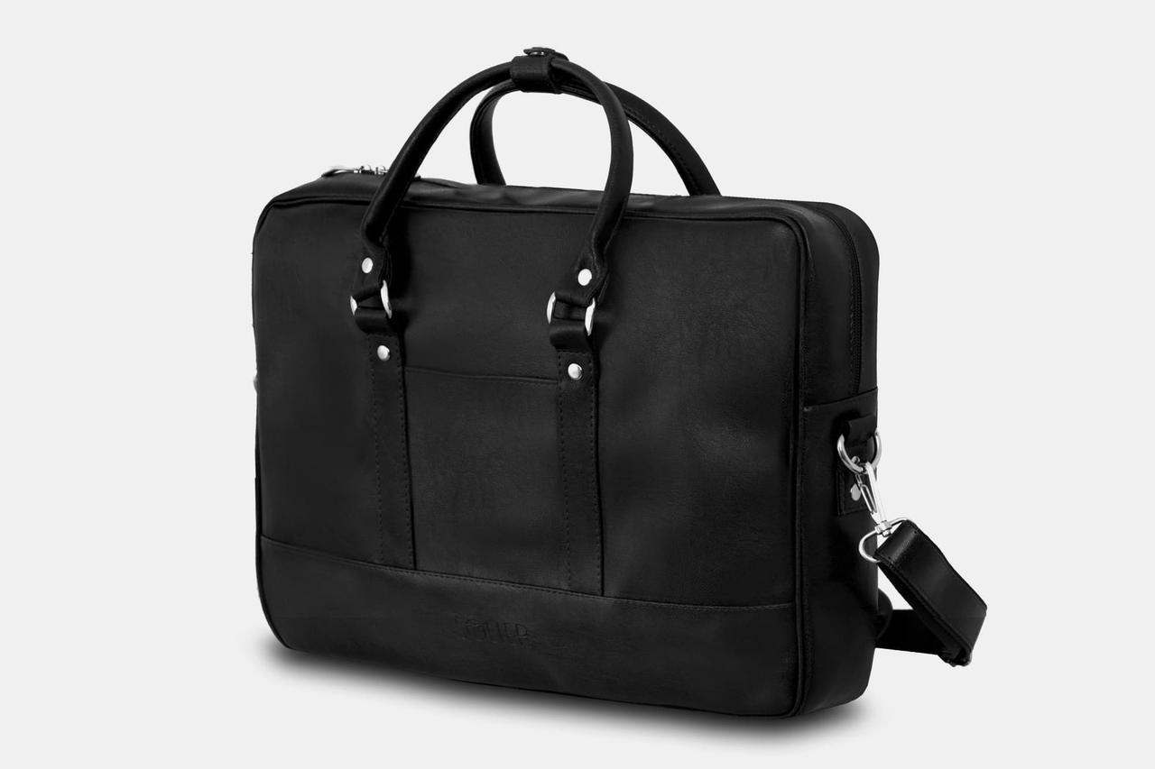 "Мужская кожаная сумка для ноутбука 15 - 15.6"" Solier Черная (S04Black)"