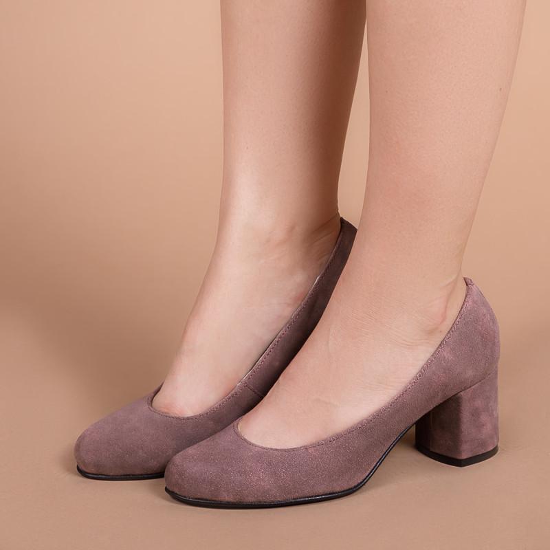 Женские туфли замшевые на маленьком обтяжном каблуке 6 см. Натуральная замша.