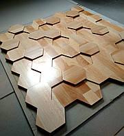 """Дерев'яна модель для лиття гіпсових форм (поліуретанових) 3d панелей """"Бджолині соти"""" 600х625х36 мм"""