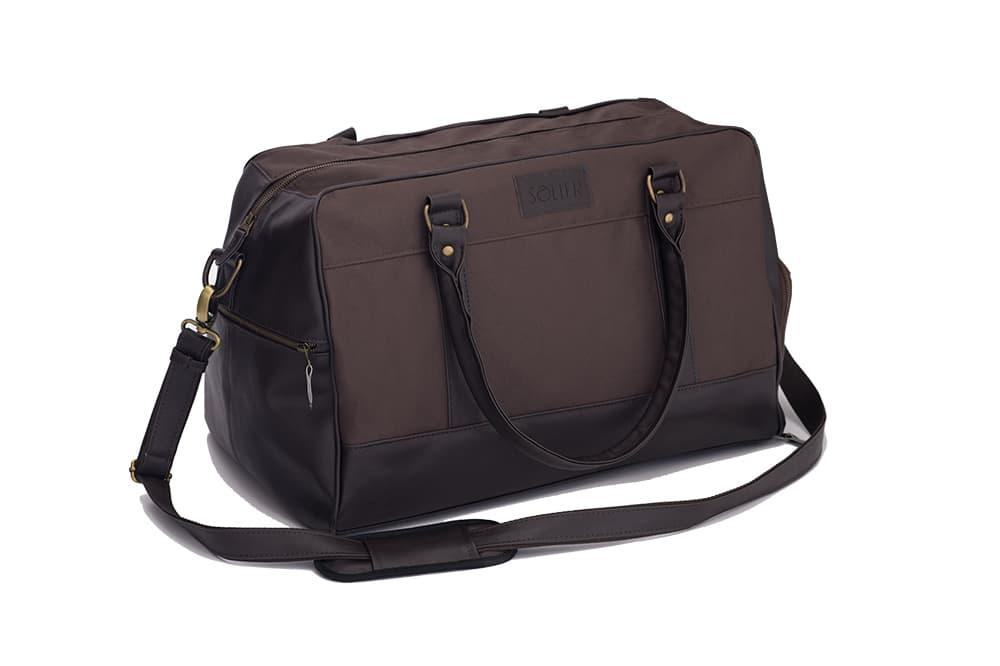 Мужская Спортивная дорожная сумка на плечо Solier Коричневая (S18LightBrown)