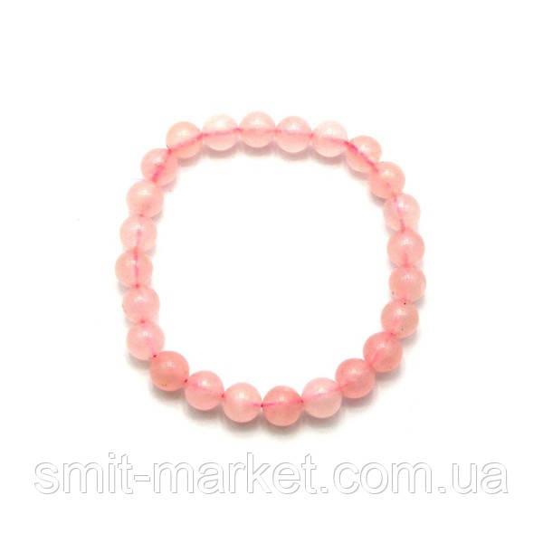 Браслет из розового кварца (Ø=0,8 см)