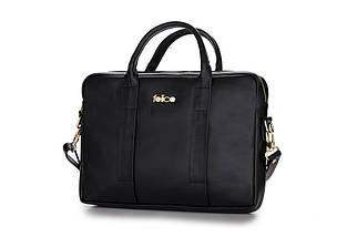 """Женская кожаная сумка для ноутбука 14 - 15.4"""" Felice Черная (DulceBlack), фото 3"""