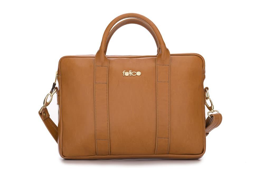 """Кожаная женская сумка для ноутбука 15 - 15.4"""" Felice Светло-коричневая (DulceCamel)"""