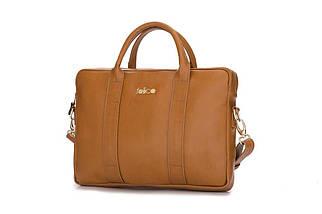 """Кожаная женская сумка для ноутбука 15 - 15.4"""" Felice Светло-коричневая (DulceCamel), фото 3"""