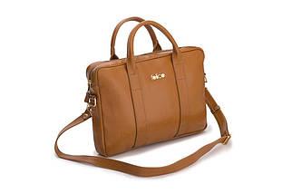 """Кожаная женская сумка для ноутбука 15 - 15.4"""" Felice Светло-коричневая (DulceCamel), фото 2"""