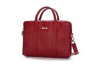 """Кожаная женская сумка для ноутбука 14 - 15.4"""" Felice красная (DulceRed), фото 3"""