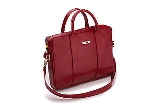 """Кожаная женская сумка для ноутбука 14 - 15.4"""" Felice красная (DulceRed), фото 2"""