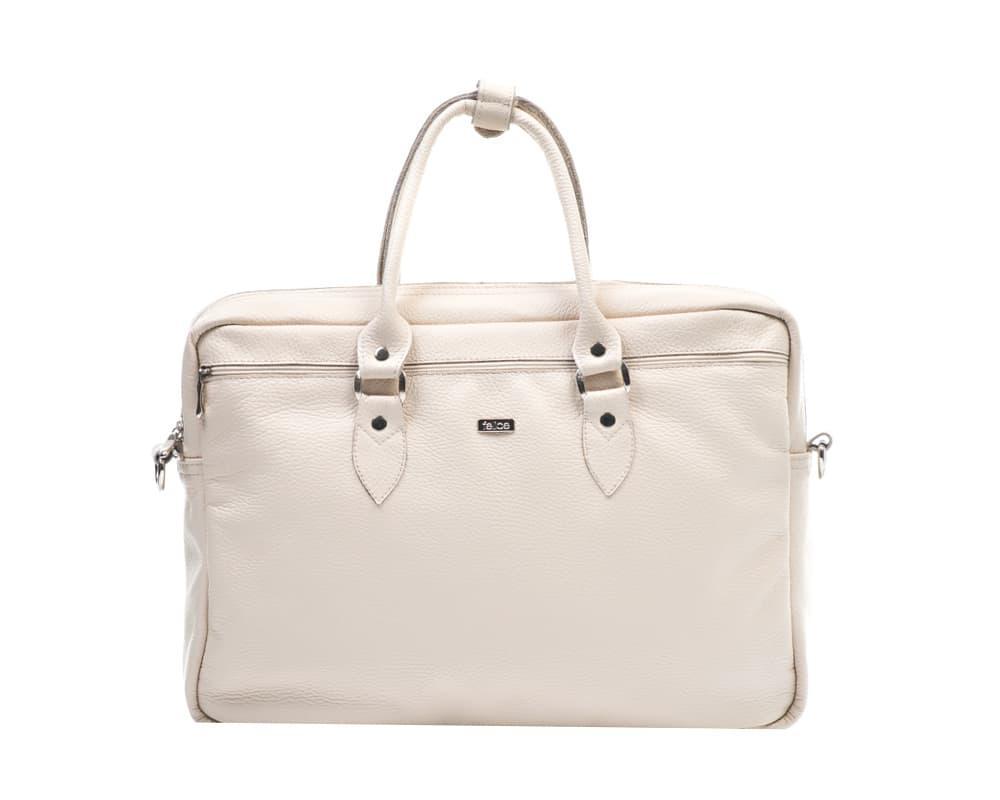"""Кожаная женская сумка для ноутбука 17"""" Felice Бежевая (MarinaBeige)"""