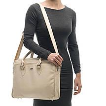 """Кожаная женская сумка для ноутбука 17"""" Felice Бежевая (MarinaBeige), фото 2"""