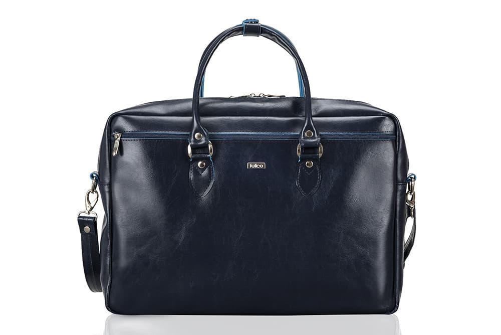 """Кожаная женская сумка для ноутбука 17"""" Felice Синяя (MarinaBlue)"""