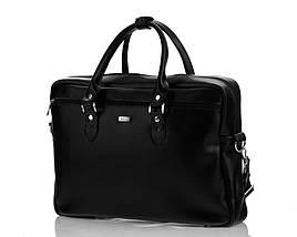 """Кожаная женская сумка для ноутбука 17"""" Felice Черная (MarinaBlack), фото 3"""