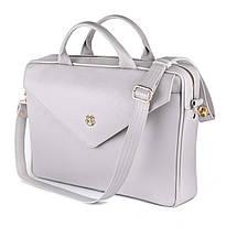 """Кожаная женская сумка для ноутбука 15 - 15.4"""" Felice Серая (Fl15Grey), фото 3"""