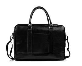 """Элегантная мужская кожаная сумка для ноутбука Solier 15 - 15,6"""" Черная (SL02Black), фото 3"""