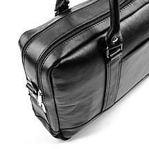 """Элегантная мужская кожаная сумка для ноутбука Solier 15 - 15,6"""" Черная (SL02Black), фото 2"""