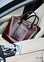 "Элегантная мужская кожаная сумка для ноутбука Solier 15 - 15,6"" Каштановая (SL02Maroon), фото 2"