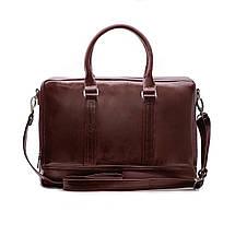"Элегантная мужская кожаная сумка для ноутбука Solier 15 - 15,6"" Каштановая (SL02Maroon), фото 3"