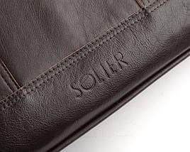 """Элегантная мужская кожаная сумка для ноутбука Solier 15 - 15,6"""" Коричневая (SL02Brown), фото 3"""