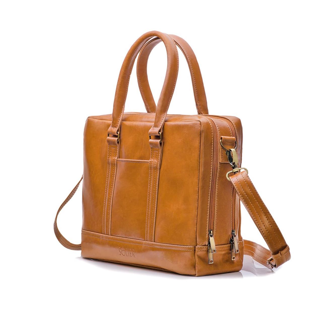 """Элегантная мужская кожаная сумка для ноутбука Solier 15 - 15,6"""" Светло-коричневая (SL02Camel)"""