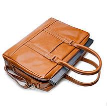 """Элегантная мужская кожаная сумка для ноутбука Solier 15 - 15,6"""" Светло-коричневая (SL02Camel), фото 3"""