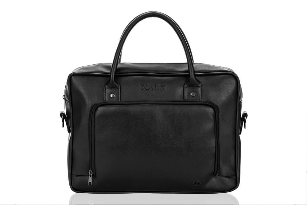 Повседневная мужская кожаная сумка Solier Черная (S19Black)
