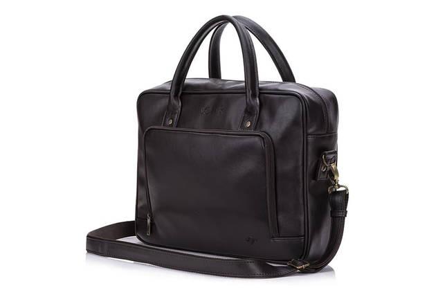 Повседневная мужская кожаная сумка Solier Коричневая (S19DarkBrown), фото 2
