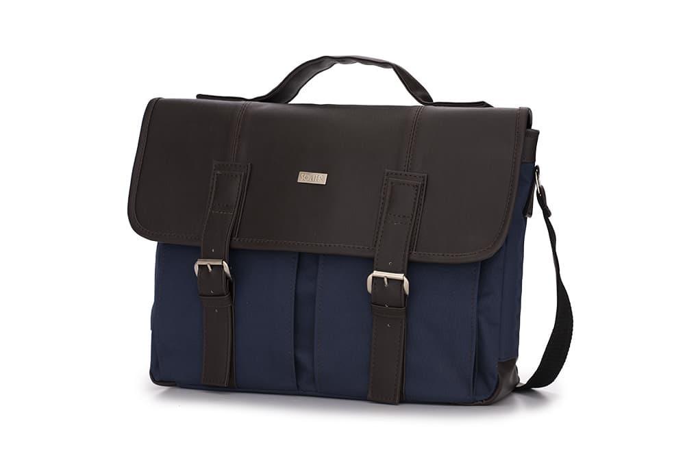 Городская мужская сумка Solier Сине - коричневая (S14GrayBlue)