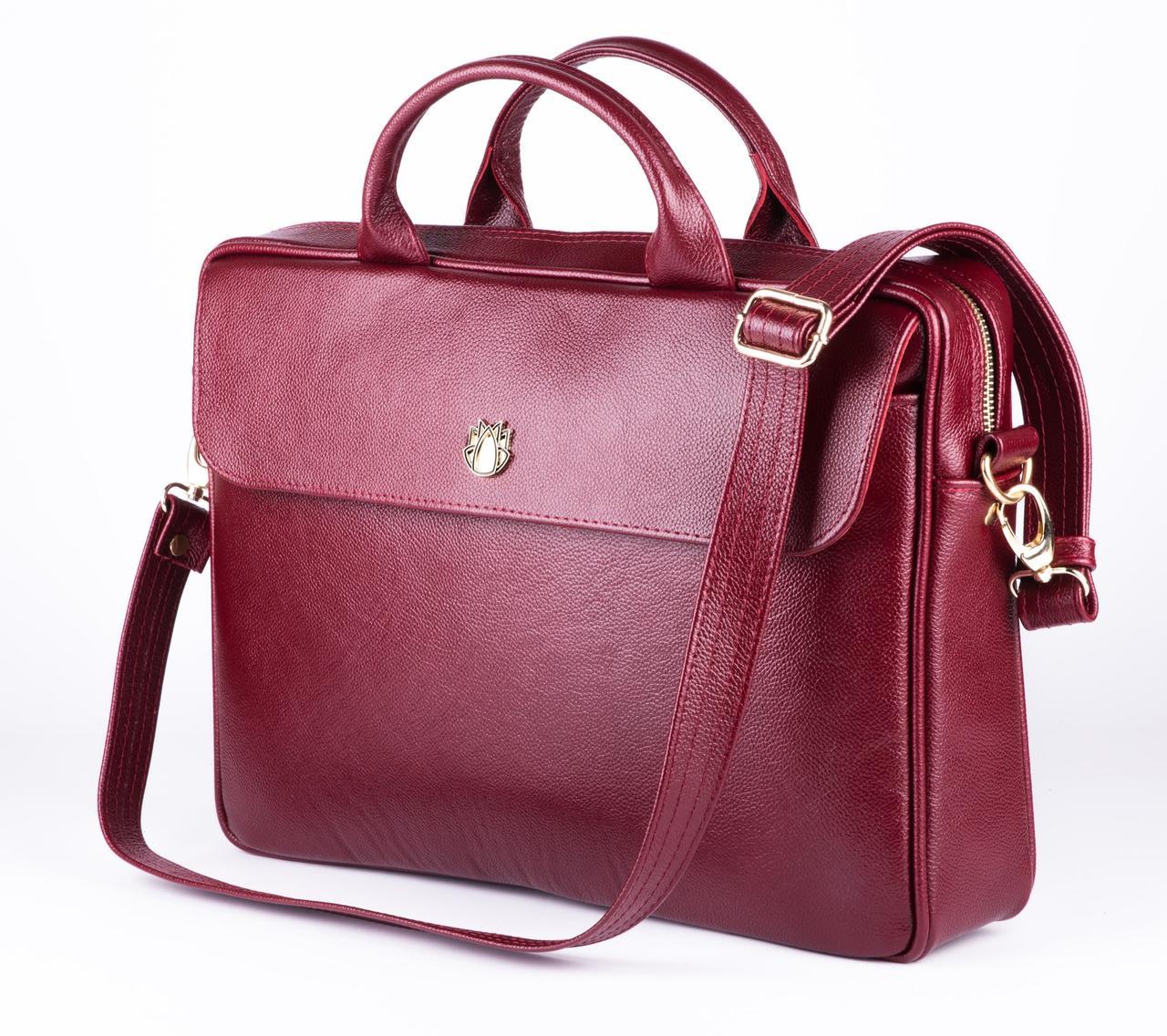 "Элегантная кожаная женская сумка для ноутбука Felice 15 - 15,6"" Красная (FL16Red)"