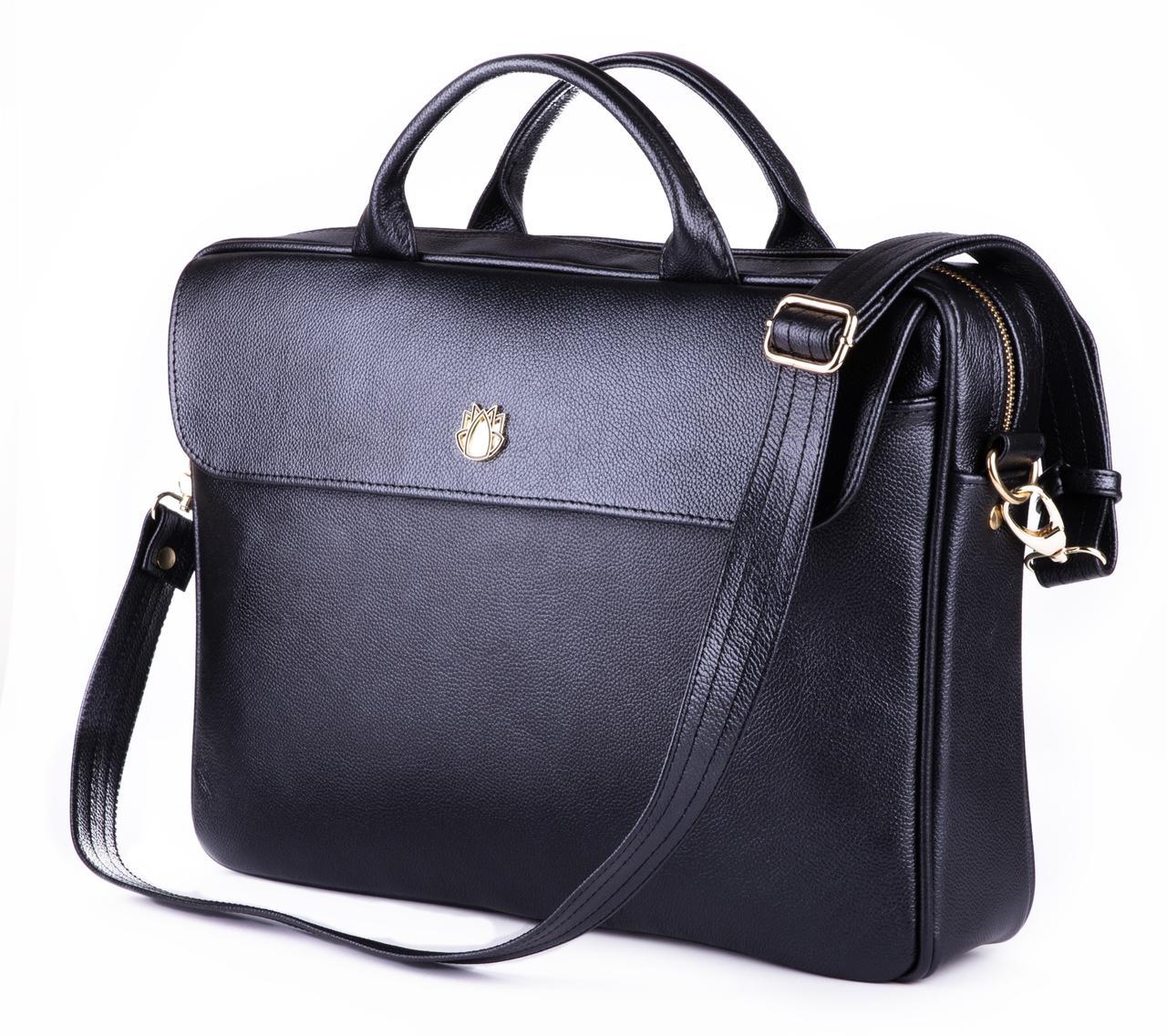"""Элегантная кожаная женская сумка для ноутбука Felice 15 - 15,6"""" Черная (FL16Black)"""