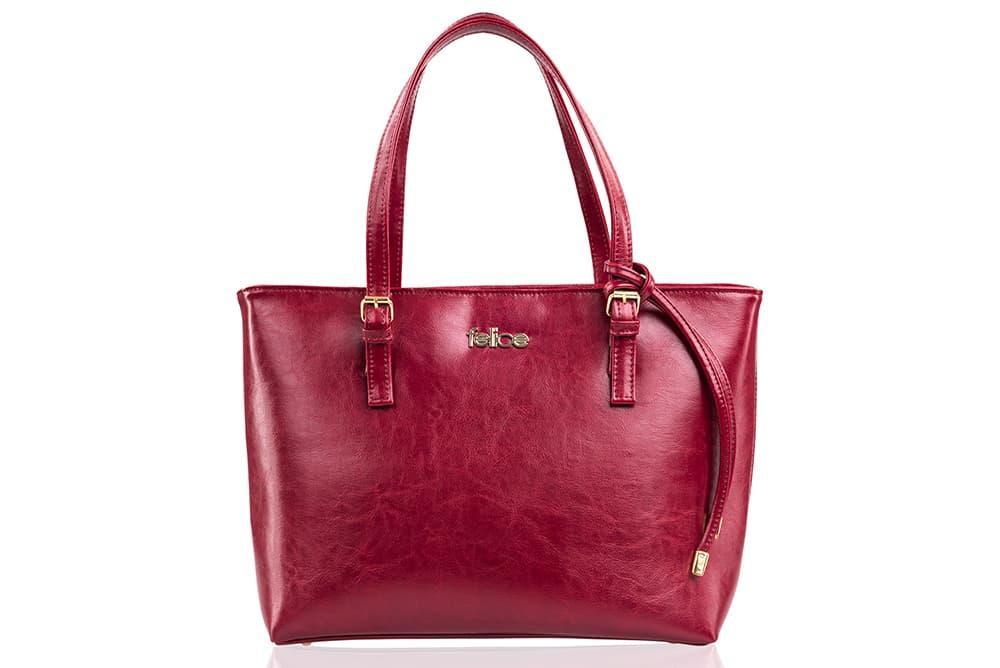 Кожаная женская сумка Felice Бордовая (LunaRed)