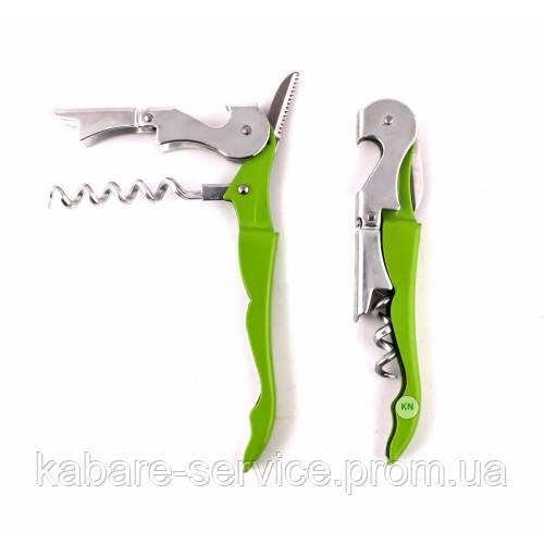Нож для официанта, двухступенчатый, штопор\открывалка, Co-Rect зеленый