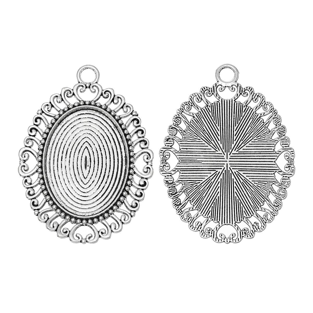 Основы для кабошонов сеттинги 58х42мм античное серебро для рукоделия